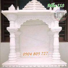 The beautiful outdoor altar worshiping with white stone deities. Ganesh Temple, Modern Tv Room, Ganesh Chaturthi Decoration, Catholic Altar, Indian Temple Architecture, Pillar Design, Puja Room, Ganpati Bappa, Nature Tree