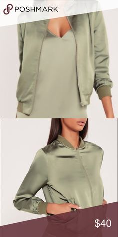 Missguided x Carli Bybel Satin Green Bomber Beauty blogger Carli Bybel's missguided collection piece thats a necessity in your closet! Never worn, in original bag and packaging. Missguided Jackets & Coats