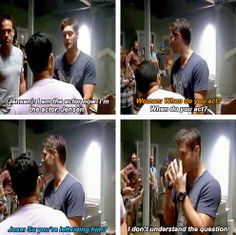 [gifset] Jensen trying to be Director Jensen and Actor Jensen. Directing is stressful! <3