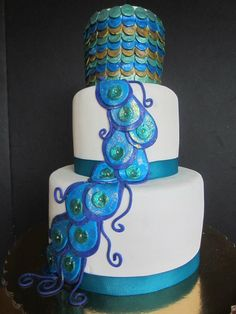 Peacock Cake by Maliha Creations. Cake is Sour Cream Almond with Cherry Filling and Amaretto Mocha Buttercream.