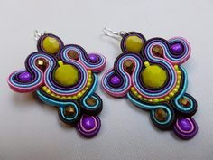 Colorful  soutache earrings by JoannaArt77 on Etsy