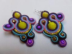 Colorful  soutache earrings by JoannaArt77 on Etsy