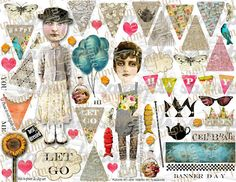 ART TEA LiFE Happy Paper Dolls Mini Banners Collage Sheet