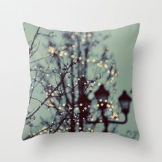 SALE Pillow Cover, Photo Pillow, Winter Lights, Mint Blue, Tree Lights, Home Decor,  Living Room, Bedroom, 16x16, 18x18, 20x20 on Etsy, $32.30