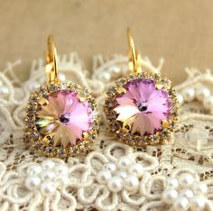 Crystal Pink color hook earring  14 k plated gold post by iloniti, $48.00