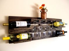 Rustic Wine Rack, Pallet Wine Rack, Wine Glasses, Wine Bottle, Unique Wine Rack…