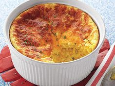 Learn how to make Cheddar-and-Corn Spoon Bread. MyRecipes has tested recipes and videos to help you be a better cook. Frozen Corn Recipes, Corn Pudding Recipes, Bread Recipes, Yummy Recipes, Grub Recipes, Cheesy Recipes, Egg Recipes, Casserole Recipes, Chicken Recipes