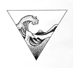 Wave Hokusai geometric tattoo dotwork art design #geometrictattoos