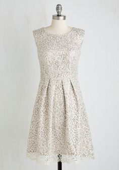 Fun One Like You Lace Dress in Silver, @ModCloth