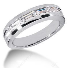0.90ct Baguettes Diamond Men's Wedding Ring 14kt White Gold JEWELFORME BLUE