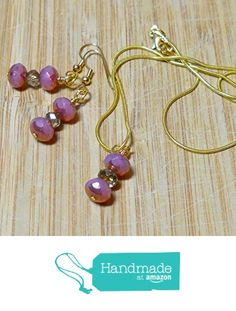 Necklace and earring set deep raspberry pink beads and gold plated chain by BethExpressions from BethExpressions https://www.amazon.com/dp/B01N2U49NS/ref=hnd_sw_r_pi_dp_Z7Uuyb1RHC9WP #handmadeatamazon