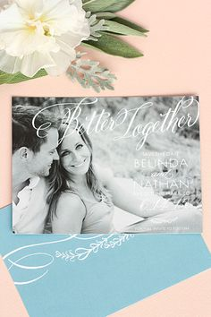 Signature Script wedding save-the-dates from Evermine {www.evermine.com}