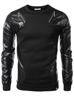 SMITHJAY Mens Hip-Hop Unique Leather Mesh Long Sleeve Sweatshirt & Zipper Trim #smithjay