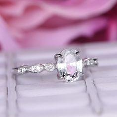 Oval White Topaz Engagement Ring Pave Diamond 14K White Gold 6x8mm