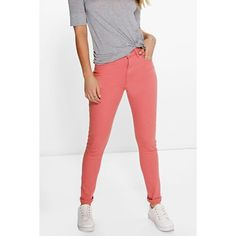 Boohoo Blue Amy 5-Pocket High Rise Pink Skinny Jeans ($44) ❤ liked on Polyvore featuring jeans, pink, distressed boyfriend jeans, slim straight jeans, white destroyed skinny jeans, high waisted boyfriend jeans and white ripped skinny jeans