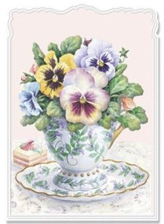 Carol Wilson Pansy Tea Cup----This reminds me so much of my Gran. She loved putting small flowers in tea cups or other small, sweet containers.