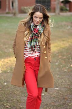Caramel and red.