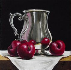 """Silver with Plums"" - Original Fine Art for Sale - © Jane Palmer Still Life Drawing, Painting Still Life, Still Life Art, Art Painting Gallery, Oil Painting Pictures, Fruit Painting, Painting On Wood, Apple Painting, Fruit Bowl Drawing"