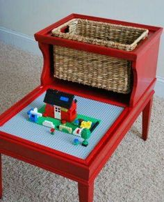 telephone table turned lego table with built in storage basket