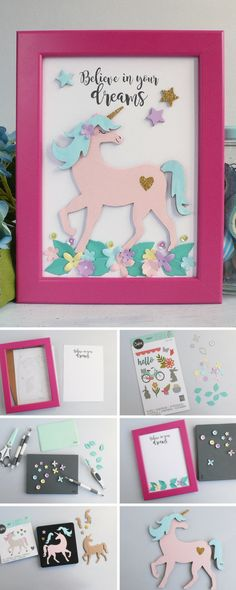 Adding a unicorn to any craft will make infinitely better. In this step-by-step Sizzix tutorial, we'll show you how to make your own papercraft unicorn frame for your home decor - Water Birthday Parties, Unicorn Birthday Parties, Unicorn Party, Birthday Cards, Birthday Ideas, Hobbies And Crafts, Crafts For Kids, Unicorn Crafts, Crafts With Pictures