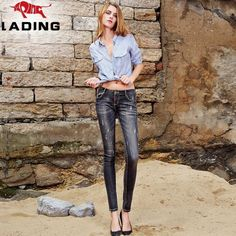 Slim new winter wear white skinny pencil pants feet washed jeans low waist stretch pants