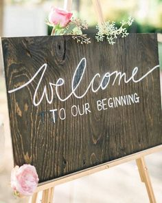 Cutest wedding welcome sign! #thebridalaffair #tbai #luxury #vintage…