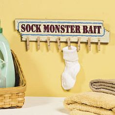 """Missing Sock Hanger Cute Humorous Laundry Room """"Sock Monster Bait"""" Sign ~NEW~ Laundry Humor, Laundry Room Signs, Laundry Rooms, Laundry Area, Laundry Closet, Laundry Tips, Dyi, Wooden Wall Plaques, Wood Wall"""