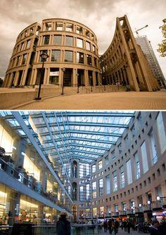 Biblioteca Central de Vancouver (Canadá). Diseñada por Moshe Safdie, cuenta con siete niveles. La estructura tiene semejanza con el coliseo romano.
