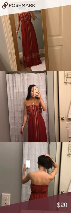 Red and white embroidered maxi dress Deep orange-red maxi dress cream stitch design. Perfect for a casual day out, beach trip, or dressed up for a night out! Good condition Nordstrom Dresses Maxi
