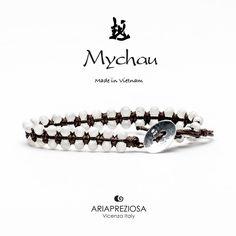 Mychau Double - Bracciale Vietnam originale realizzato con doppia fila di pietre naturali Madreperla su base col. Nero