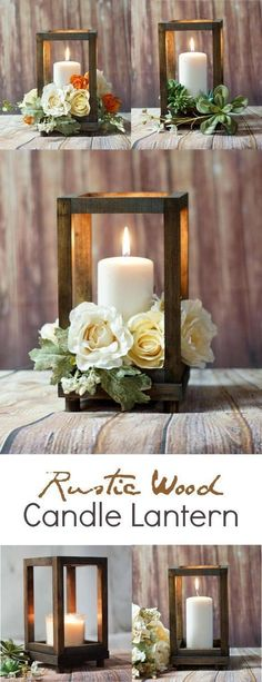 Rustic Wood Candle Holder, easy and inexpensive to make. Could be a less expensive way for a beautiful centrepiece...use silk or real flowers. #rustichomedecor