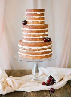naked cherry wedding cake   Photo by Jemma Keech Photography