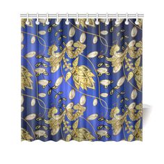 Beautiful Blue Gold Floral Vintage Pattern Shower Curtain 69