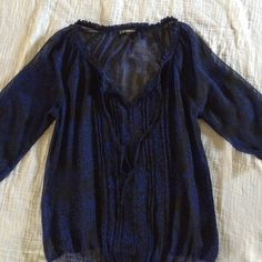 Express top Blue and black sheer top. Elastic waistband Express Tops Blouses