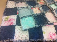 Country Baby Quilt - Denim and Roses - Crib Size Rag Quilt on Etsy, $85.00 CAD