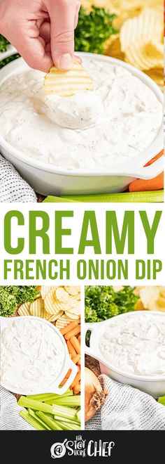 Creamy French Onion Dip is a classic party appetizer, traditionally served with crinkle cut potato chips. It is addictingly delicious, and only takes 10 minutes to prepare! Cold Appetizers, Healthy Appetizers, Appetizer Dips, Appetizers For Party, Appetizer Recipes, Dip Recipes, Cooking Recipes, Healthy Recipes, Summer Recipes