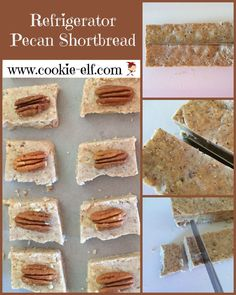 Refrigerator Pecan Shortbread: ingredients, directions, and special baking tips from The Elf to make this rich, nutty refrigerator cookies shortbread. Cake Mix Cookie Recipes, Chocolate Cookie Recipes, Cake Mix Cookies, Chocolate Chip Cookies, Christmas Cookies Kids, Traditional Christmas Cookies, Cookies For Kids, Cherry Cookies, Pecan Cookies