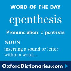 epenthesis (noun): The insertion of a sound or letter within a word, e.g. the b in thimble. Word of the Day for 24 December 2015. #WOTD #WordoftheDay #epenthesis