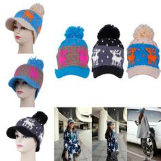 Winter Spring Warm Outdoor Knitting Wool Women Ski Deer Peak Cap Hat