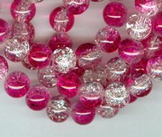 8mm Pink and White Crackle Glass Round Beads Long by RockNBeads, $4.00