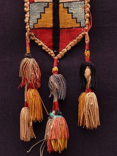 Lakai cross stitch Lakai, Uzbekistan 19th century cross stitch with cotton braided trim and silk tassels