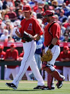 Pitcher Jered Weaver #36 with catcher Chris Iannetta #17