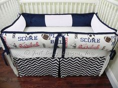 Baby Bedding Crib Set Ryan - Sports Navy Chevron : Just Baby Designs, Custom Baby Bedding Custom Crib Bedding Custom Nursery Bedding