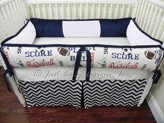 Custom Baby Bedding Set Ryan   Sports Navy by BabyBeddingbyJBD, $239.00