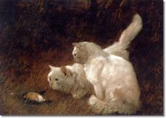 Arthur Heyer (Alemania/Hungría, 1872-1931). Watchful Eye Two Cats
