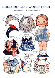 Dolly Dingle's In England Lovely Vintage Paper Doll .