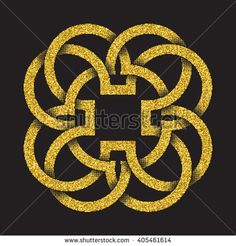 #Golden #glittering #logo #symbol in Celtic style on black background. Tribal symbol in four petals flower form. Gold stamp for jewelry design.