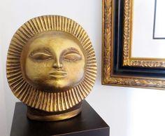 MONTEZUMA Sunburst Sun Head Sculpture PAUL BELLARDO STATUE Eames Era Modernist