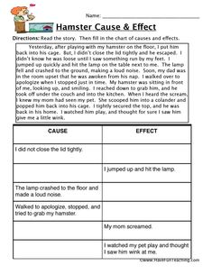 Cause and effect comprehension worksheets hamster cause and effect worksheet education reading worksheets cause and effect . 4th Grade Reading Worksheets, Reading Comprehension Worksheets, School Worksheets, Comprehension Strategies, 2nd Grade Activities, Writing Worksheets, Printable Worksheets, Cause And Effect Worksheets, Cause And Effect Activities