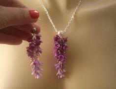Ombré purple jewelry  Polymer jewelry  Purple necklace by insou, $72.00